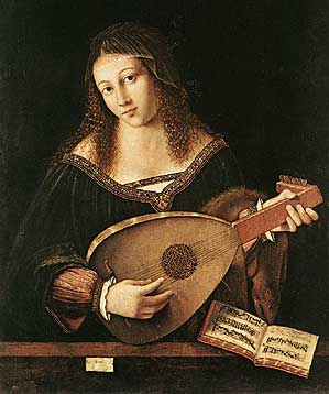 Bartolomeo Veneto, Woman Playing a